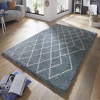 Design velour deep-pile carpet touch blue cream
