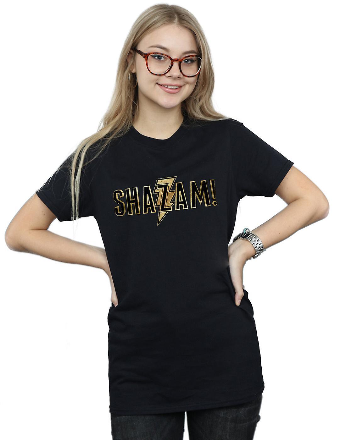 DC Comics Women's Shazam Text Logo Boyfriend Fit T-Shirt