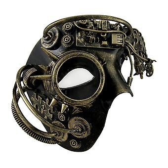 Dan Droid Steampunk Cyborg Spiked One Eyed metallisk maske