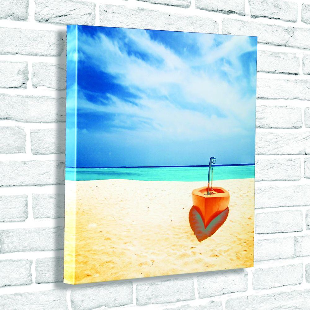 Photo Canvas Lonely Boat, Wall Art 60 x 60 cm Attached to Real Wooden Framework