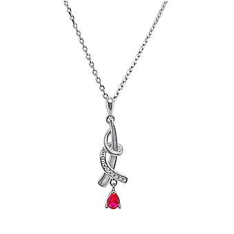 Ah! Jewellery Sterling Silver Twist Pendant Necklace With Ruby Crystals From Swarovski