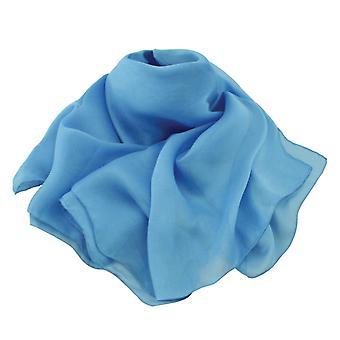 Eternal Collection Plain Sky Blue Oblong Pure Silk Chiffon Scarf