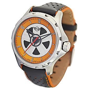MINI Rotating Wheel Dial Quartz Grey Leather Strap Mens Watch 161103 44mm