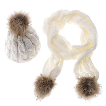Women winter knitted thick pom pom hat cap and scarf set