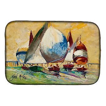 Carolines Treasures  JMK1033DDM Bimini Sails Sailboat Dish Drying Mat