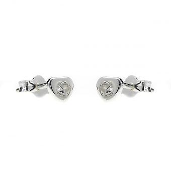 Evigheden sterling sølv lille kubisk zirconia hjerte stud øreringe