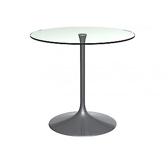 Gillmore Pedestal Medium Dining Table Clear Glass And Smoked Chrome