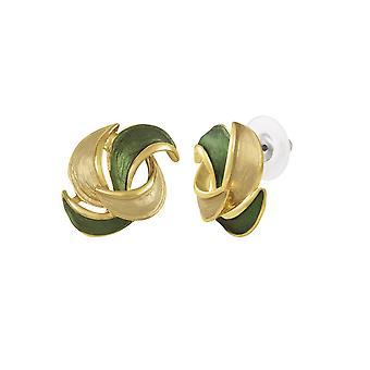 Eternal Collection rikastettu vihreä/beige emali kulta sävy Stud lävistetty korva korut