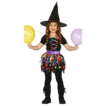 Meisjes Halloween regenboog heks fancy dress kostuum