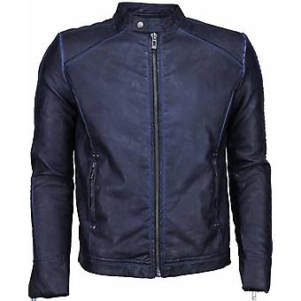 Imitation Leather Jacket - Leather Jacket - Street Wear - Blue Black