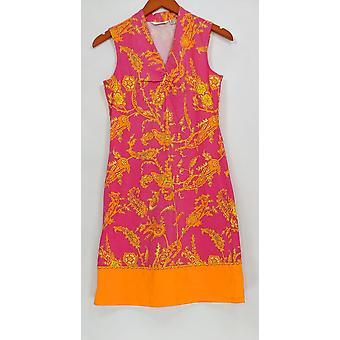 Liz Claiborne New York Petite Dress XSP Border Print Knit Bright Pink A252213