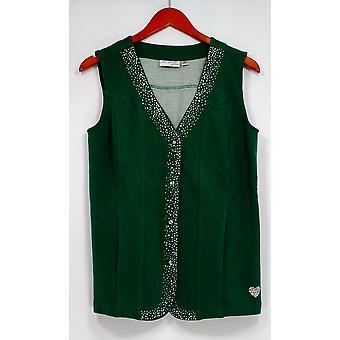 Quacker Factory Women's Sweater DreamJeannes Sparkle Button Green A256185