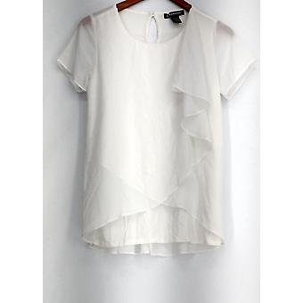 Kate & Mallory Short Sleeve Woven Side Ruffle Split Back White A426008