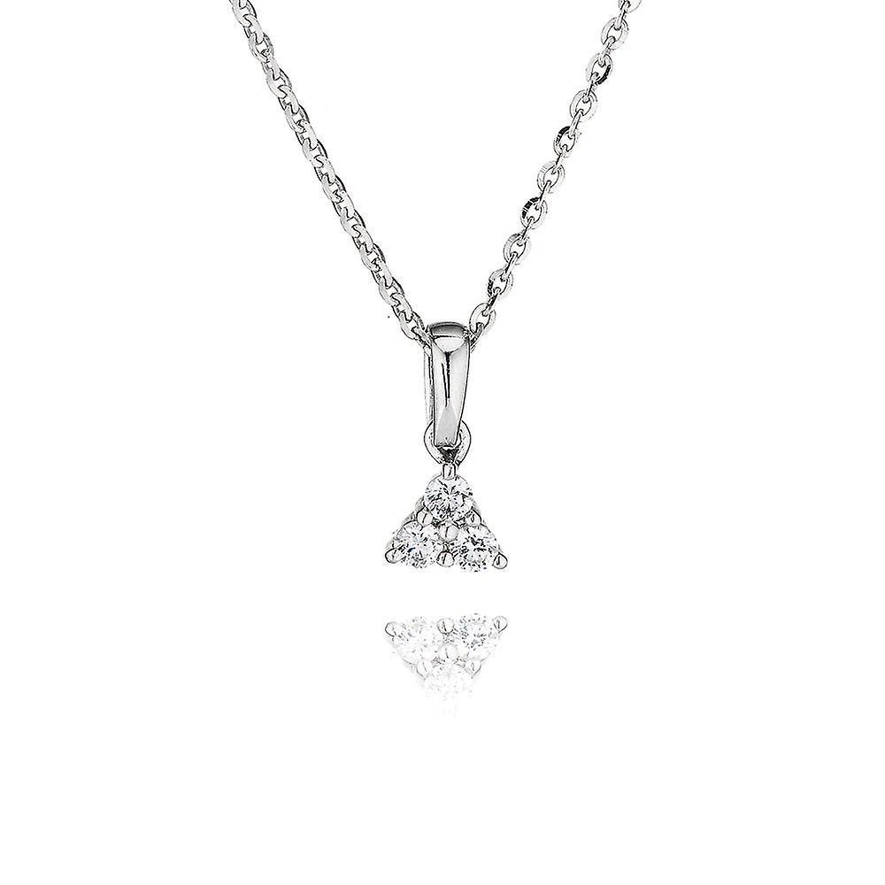 Swarovski  Zirconia by Perfection Sterling Silver Swarovski Zirconia Three Stone Pendant And Chain