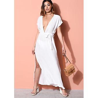 Täck upp djupa V Side Splits strand Maxi Kaftan klänning vit