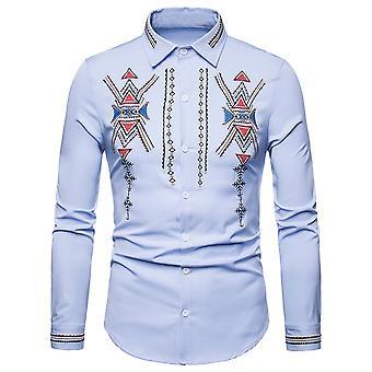 Allthemen Men's Casual Camicia Palazzo Stile Ricamato Autunno Camicia a Maniche Lunghe