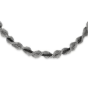 925 Sterling Silver and Ruthenium plated Fancy Mesh Necklace 18 Inch Jewelry Gifts for Women