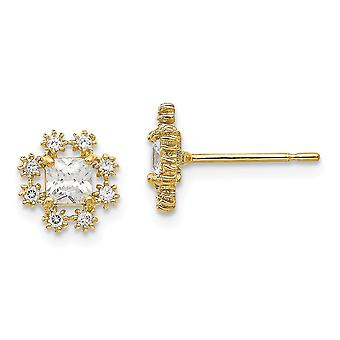 14k Yellow Gold Madi K Cubic Zirconia for boys or girls Flower Post Earrings