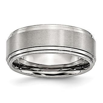 Edelstahl gebürstet gravierbare 8mm Satin und poliert Band Ring Schmuck Geschenke für Frauen - Ring Größe: 6 bis 13