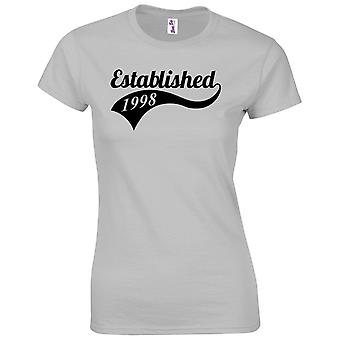 21st Birthday Gifts for Women Her Established 1998 T Shirt