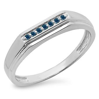 Dazzlingrock Collection 0.10 Carat (ctw) Sterling Silver Round Cut Blue Diamond Men's Stackable Wedding Band 1/10 CT