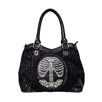 Banned Flocked Cameo Ribcage Handbag