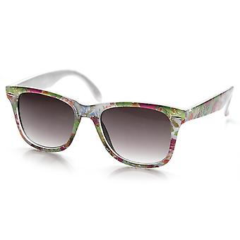 Flower Print Floral Translucent Womens Horn Rimmed Sunglasses
