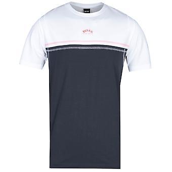 BOSS T-Shirt 4 Kontrast Panel weiß & Marine T-Shirt