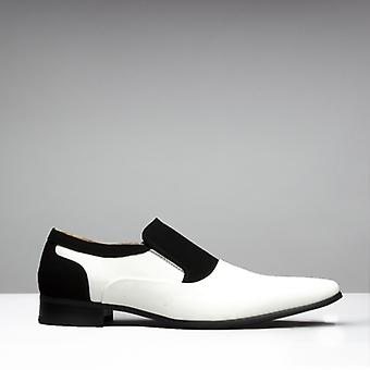 Mister Carlo Hylton Mens Faux Patent Nubuck Slip On Loafers Black/white