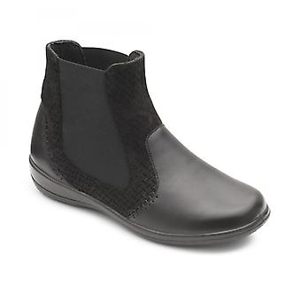 Padders Margot Ladies Couro Extra Wide (2e/3e) Chelsea Boots Black