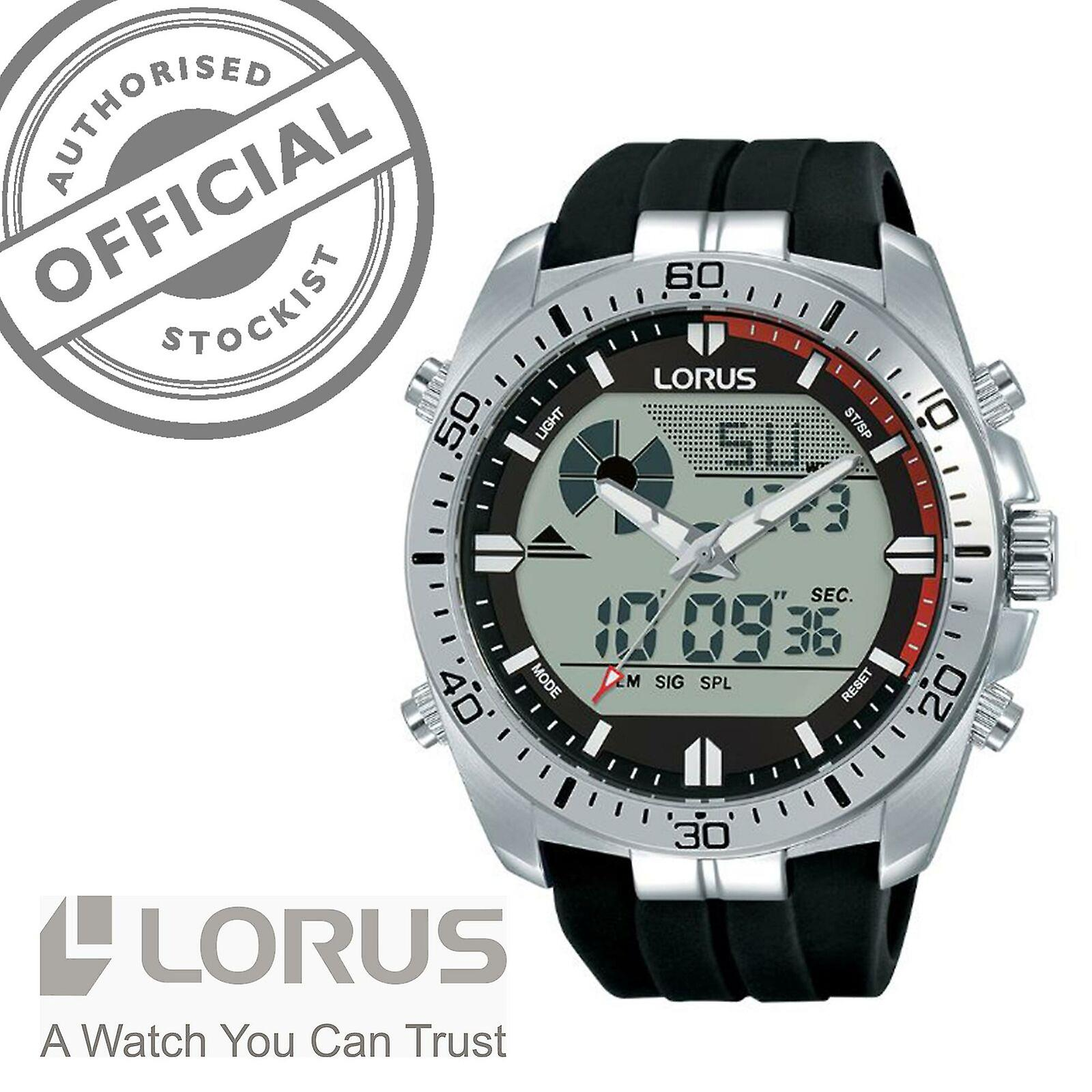 Lorus Sports Quartz Digital Black Strap Silver Stainless Steel Case Men's Watch R2B07AX9