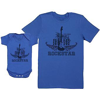 Toekomstige Rockstar set-Baby Gift set met Baby Romper & vader ' s T-shirt