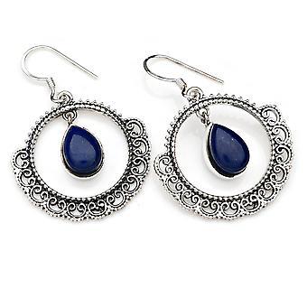 Lapis lazuli korva korut 925 hopea Sterling hopea korva korut sininen (MOH 124-06)