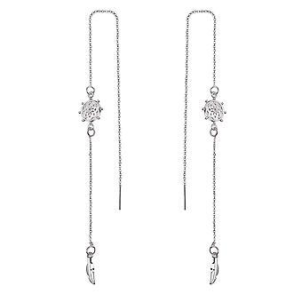 Chakra boucles d'oreilles du thread créés avec cristaux swarovski argent