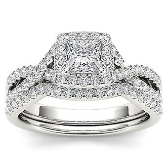 Igi certifierad 14k vitt guld 1 ct princess cut diamond halo förlovningsring set