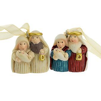 Mini Mary & Joseph Christian Nativity Resin Christmas Bauble Ornament