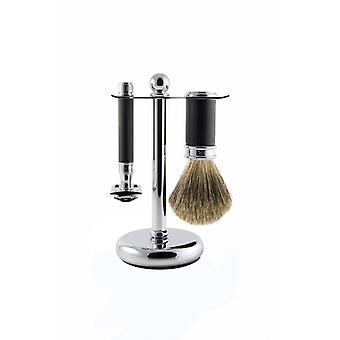 Chromowy zestaw do golenia i czarna guma - s gotowany na maszynkę do golenia