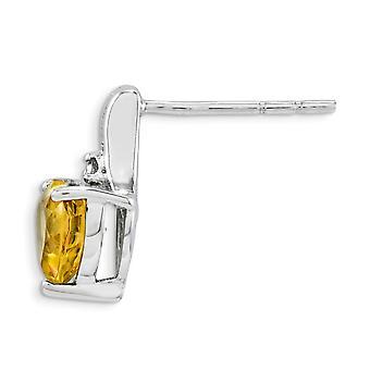 925 sterling zilver gepolijst open rug rhodium-plated rhodium plated Diamond Citrien hart post oorbellen