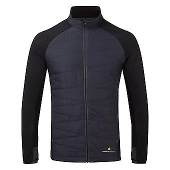 Ronhill Stride Hybrid Mens Insulated Wind Resistant Running Jacket Charcoal Black