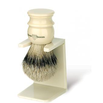 Blaireau Ivory Ze stojakiem - Silver Tip Hair