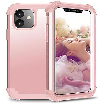 For iPhone 11 PC+ Silicone Three-piece Anti-dropback Cover Rose gold