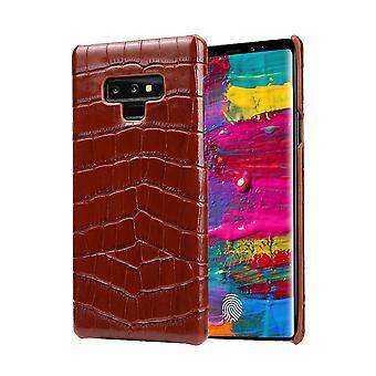 Til Samsung Galaxy Note 9 sag, Krokodille Ægte Læder Telefon Cover, Brun