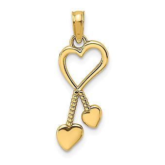 14k Gold Heart Pendant With Double Heart Beaded Tasstle 2 d and High Polish Jewelry Gifts for Women