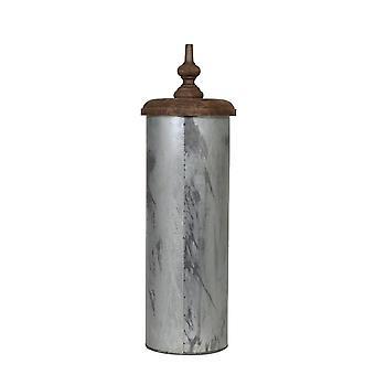 Light & Living Pot Deco 23x70cm Alladin Black Zinc And Lid Weather Barn