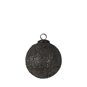 Licht & Leben Weihnachten Bauble 10cm glänzendes Glas grau