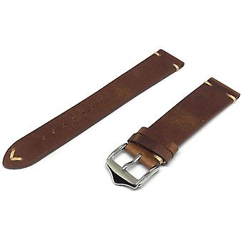 Calf leather watch strap light brown distressed leather vintage style size 20mm and 22mm
