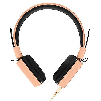 Wired Headphones and 3.5mm Jack Cable with Built-in Mic Foldable- GJ-14 Pink