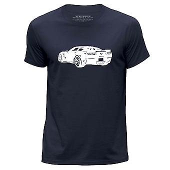 STUFF4 Men's Round Neck T-Shirt/Stencil Car Art / Corvette Z06/Navy Blue