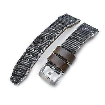 Correa de reloj de tela Strapcode 21mm, 22mm miltat correa de reloj de lona lavada en negro, correa militar remache
