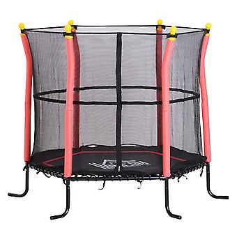 HOMCOM 5FT / 61 Inch Kids Mini Trampoline Bungee Design with Safety Enclosure Net Exercise Rebounder Six Legs Capacity to 60kg Red